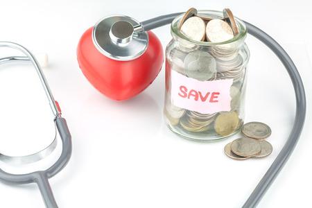 Saving money for medical concept Stock Photo