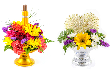 flower decorated on tray with pedestal to be used in the ceremony for paying respect to teachers or elder people