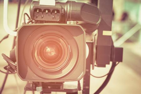 professional video camera, selective focus