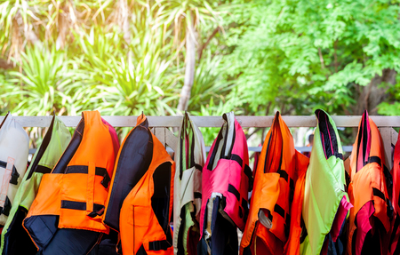 life jacket in colorful important for life security in the water or the sea and ocean for everybody even someone can swim Stockfoto