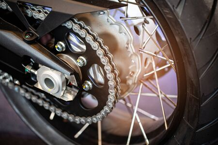 Rear chains and sprocket of motorcycle wheel, concept new design