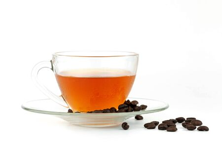 Cup of tea with coffee bean on white background