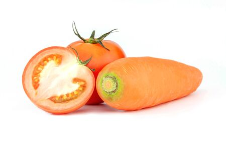 Vegetables tomatoes, carrots fresh  collection isolated on a white background Banco de Imagens