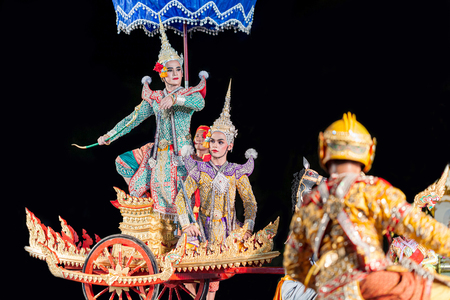 Rayong, Thailand - November 9, 2019 : Pantomime show dance battle of Ramayana-Monkey and giant soldier in the war Editorial