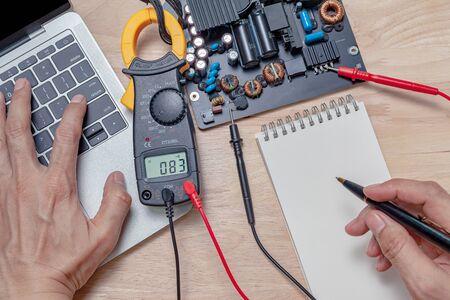 motherboard repair close-up, electronic hardware concept. Stock fotó