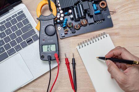motherboard repair close-up, electronic hardware concept. Stock fotó - 141604751