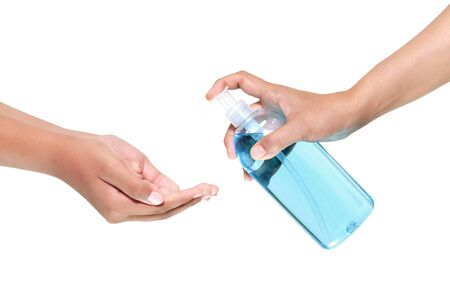 washing hand with Antibacterial hand sanitizer, disinfection gel symbol  in white background Stock fotó - 144896669