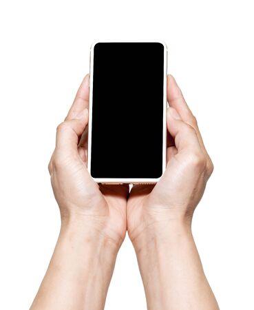 hand holding black phone isolated on white background.