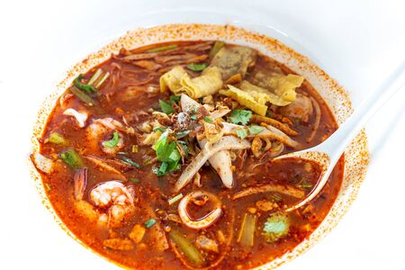 Tom Yum Noodle Soup on white background, Thai food Stock fotó - 146674322