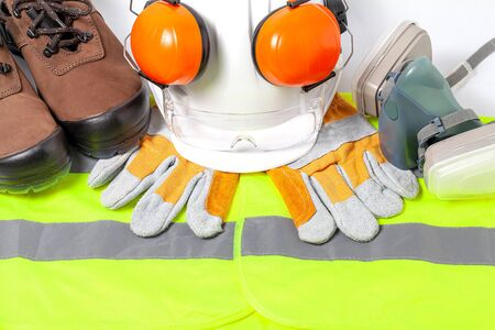 Standard construction safety equipment on white  background. top view, safety first concepts Stock fotó