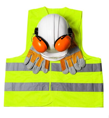 Standard construction safety equipment on white background. top view Stock fotó
