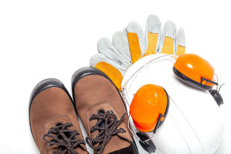 Standard construction safety equipment on white background. top view, safety first concepts