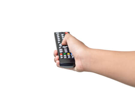 Hand with remote control pointing forward isolated at white background.
