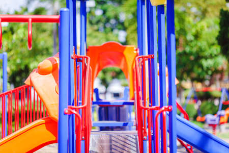 A children playground, a slider located on the floor.selective focus.