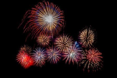 Fireworks display on black  background.