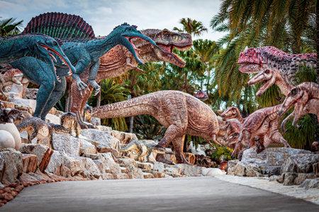 PATTAYA, THAILAND - DECEMBER 20, 2020: Dinosaur Valley in Nong Nooch Tropical Botanical Garden, Pattaya, Thailand in a sunny day
