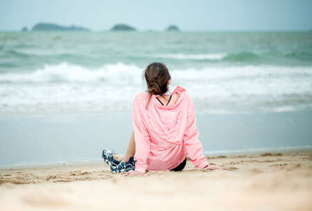 Portrait beautiful young asian women enjoy leisure on the beach sea and ocean at sunset or sunrise for vacation travel