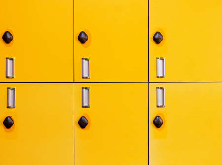 close up  yellow Several rows of lockers in  factory Stock fotó
