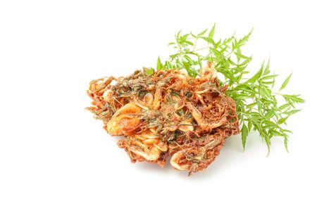 Seasonal small fried shrimp on white background,