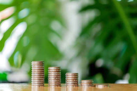 Coins stack growing graph concept, money saving and investment financial,money savings and wealth. Stock fotó