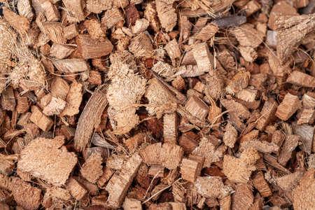 background of coconut fiber husks used for potting soil mix for plants or terrarium grounds Stock fotó
