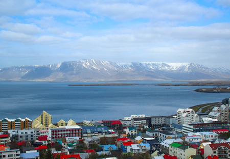 Reykjavik: Beautiful super wide-angle aerial view of Reykjavik Stock Photo