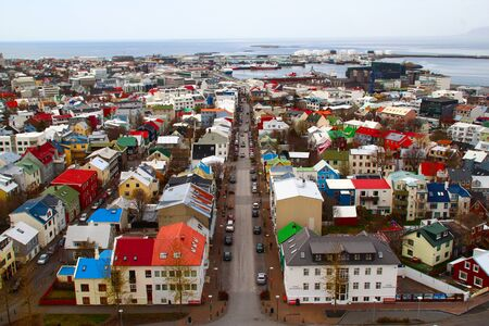 High-angle view of Reykjavik downtown, which is the capital city of Iceland