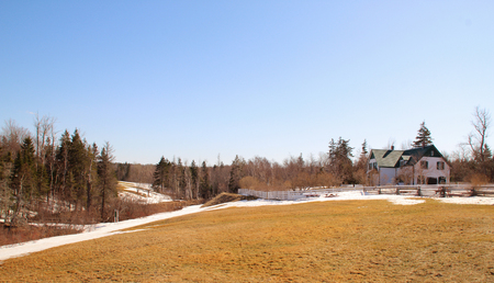 house gables: panoramic view of house in the National Park in Cavendish, Prince Edward Island, used as a setting for her Anne of Green Gables novel.