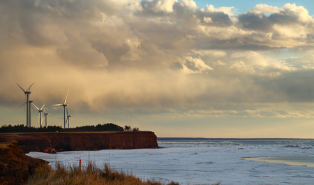 cocaine: wind power generator at north cape ine Prince Edward Island, Canada Stock Photo