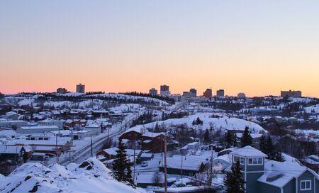 イエロー ナイフ、カナダの冬景色 写真素材