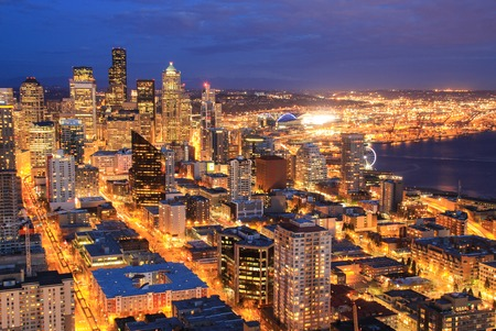 Seattle, United States - Mar 3rd 2014: Night aerial view of downtown Seattle.