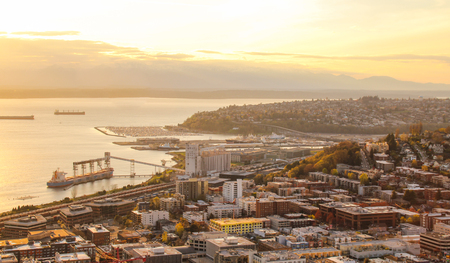 Seattle, United States - Mar 3rd 2014: Aerial view of downtown Seattle.