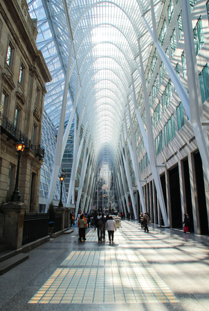 TORONTO, CANADA - April 22, 2014: Brookfield Place in Downtown Toronto, an office complex comprising the 2.1-hectare block and the home of the Hockey Hall of Fame. Editorial