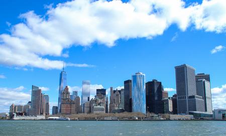 Manhattan Skyline from Hudson river ferry Stock Photo