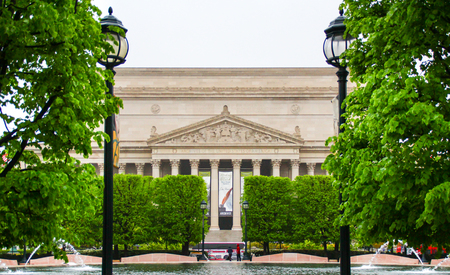 Washington DC, USA - April 29 2014: The facade of the National Archives Building in Washington D.C. Editorial