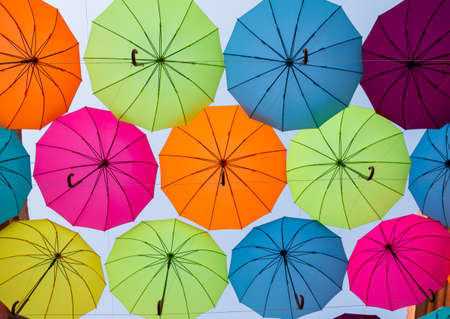 colorful umbrellas make people happy Stock Photo