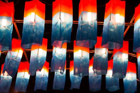 Cheongsachorong, traditional Korean lantern with a red-and-blue silk shade
