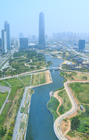 Songdo, Korea - June 13, 2016: Aerial view of Songdo Central Park in Incheon, Korea. Songdo International Business District (Songdo IBD) is a new smart city built in Incheon, South Korea. Editorial