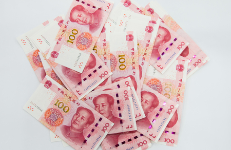 Background consisting of many Chinese 100 RMB Yuan notes 스톡 콘텐츠