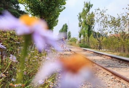 landscpae of old railway park in Seoul, Korea Stock Photo
