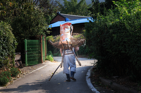 old Korean man carrying an A-frame carrier on his back