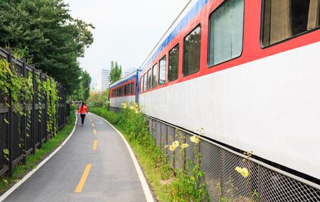 Walkway along the train on discontinued raiload park in Seoul Korea Stock Photo