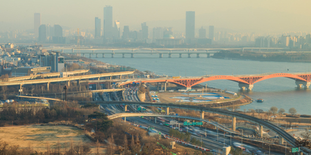 Landscape of Seoul City seen from Haneul park in the fine dust