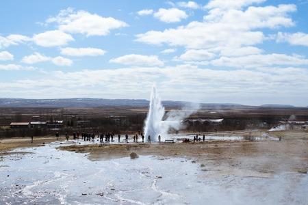 Strokkur geysir eruption at the Geysir geothermal Park on the Golden circle in Iceland