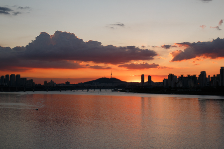 beautiful sunst with dramatic sky on Han river in Seoul, Korea