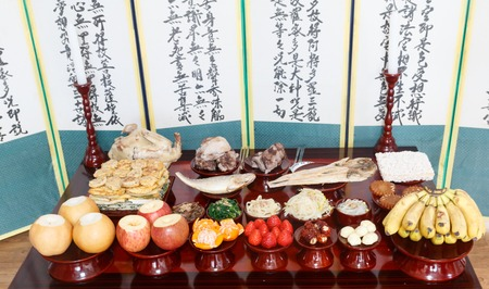 Seoul, Korea - Feb 5 2019: Table setting with various fruits and foods for Korean traditional Holiday (Chuseok, Seollal)