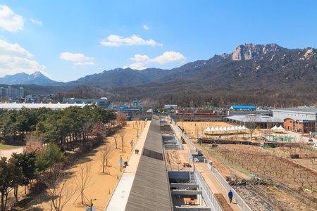 Seoul, Korea - Mar 24 2019: Dobong Mountain and Peace Culture Bunker, once anti-tank obstacle turned into culture and art space, located in Northern Seoul.