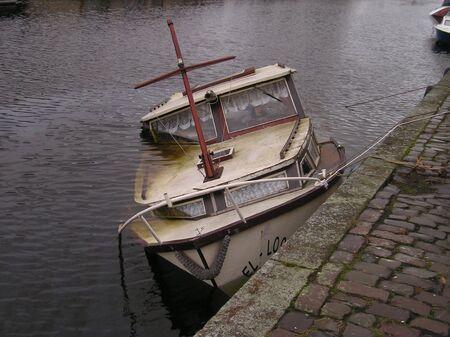 sunk: Sunk boat Stock Photo