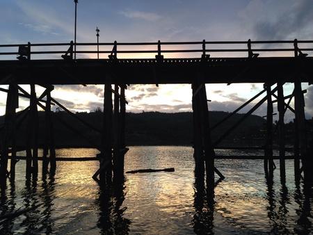 sangkhla buri: Wood bridge at Sangkhla buri - Thailand