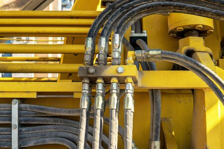 hydraulic hoses: Hydraulic system hoses and pipes on train. Stock Photo